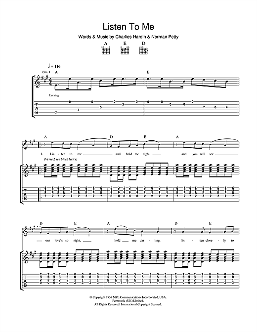 Buddy Holly Listen To Me sheet music notes and chords. Download Printable PDF.