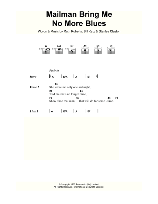 Buddy Holly Mailman Bring Me No More Blues sheet music notes and chords. Download Printable PDF.