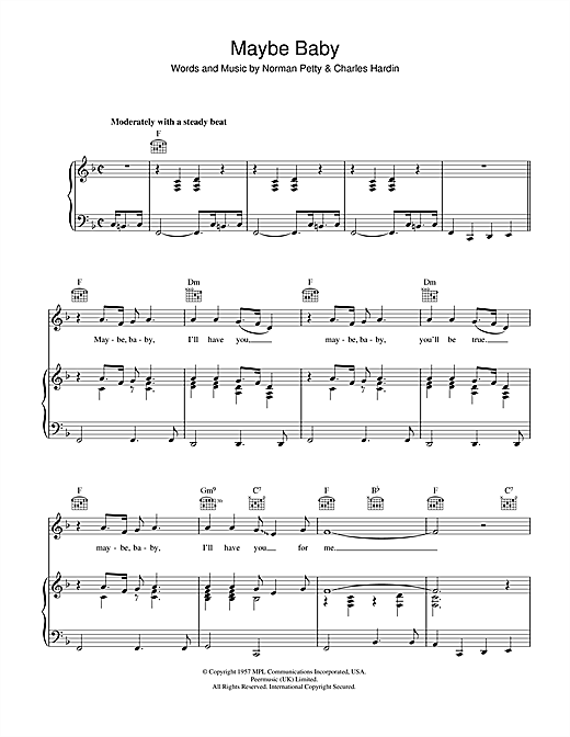 Buddy Holly Maybe Baby sheet music notes and chords