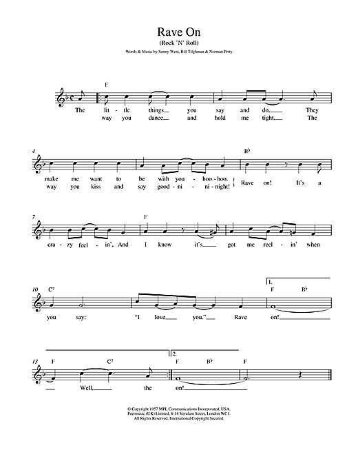 Buddy Holly Rave On sheet music notes and chords. Download Printable PDF.