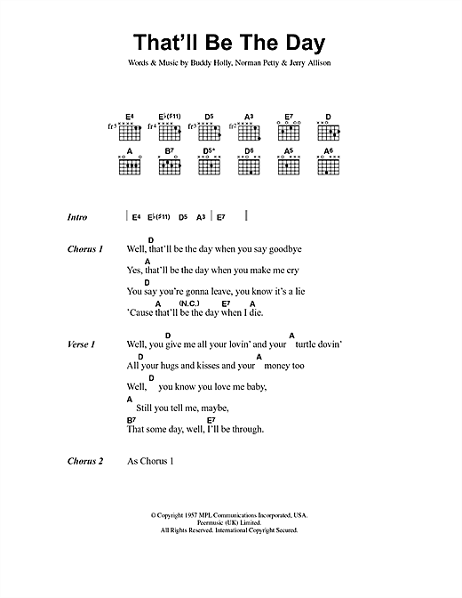 Buddy Holly That'll Be The Day sheet music notes and chords