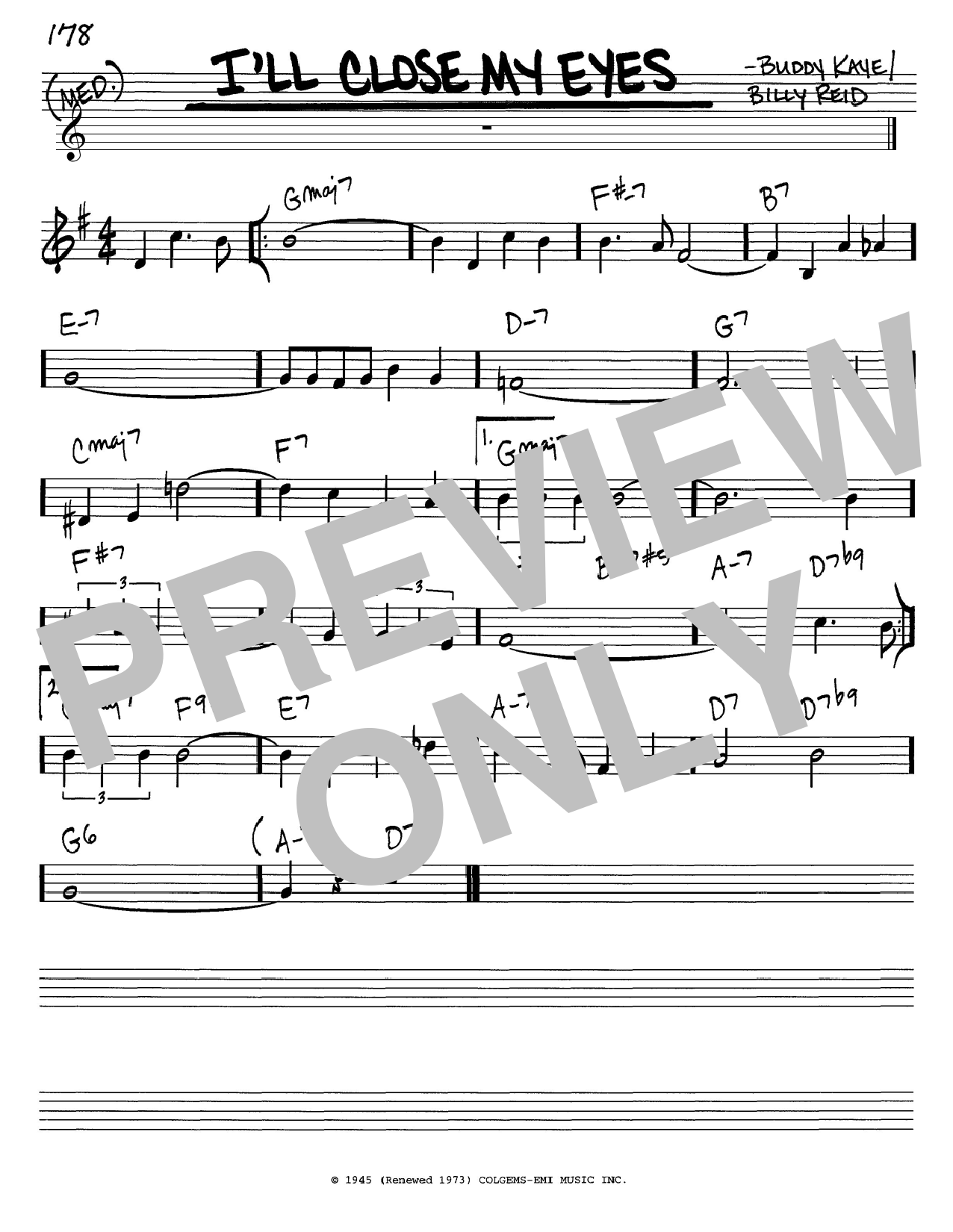 Buddy Kaye I'll Close My Eyes sheet music notes and chords