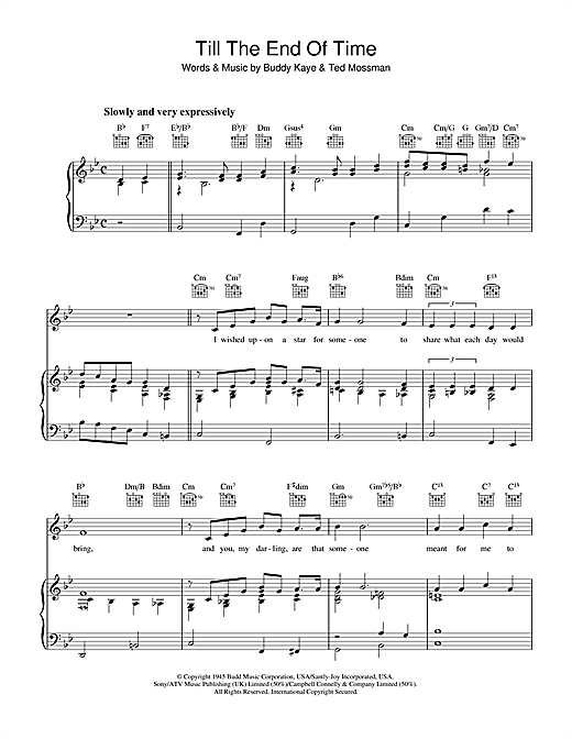Buddy Kaye Till The End Of Time sheet music notes and chords. Download Printable PDF.