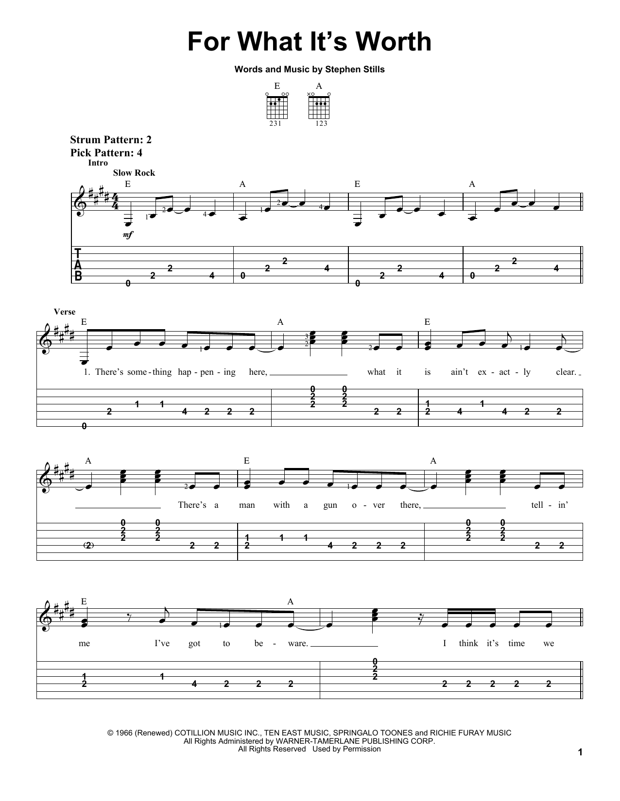Buffalo Springfield For What It's Worth sheet music notes and chords. Download Printable PDF.
