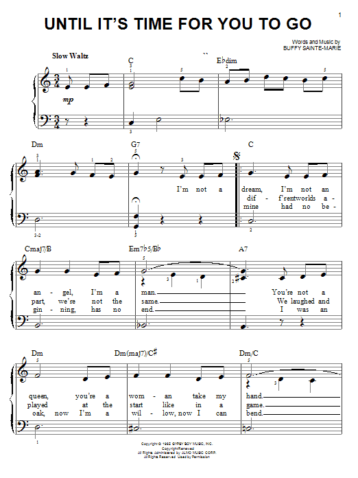 Buffy Sainte-Marie Until It's Time For You To Go sheet music notes and chords. Download Printable PDF.