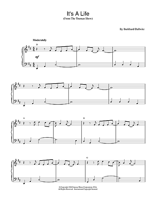 Burkhard Dallwitz It's a Life (from The Truman Show) sheet music notes and chords
