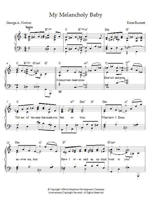 Ernie Burnett My Melancholy Baby sheet music notes and chords. Download Printable PDF.