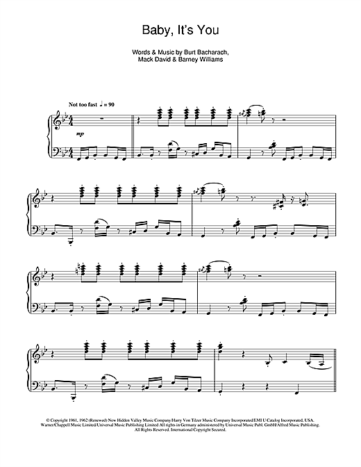 Burt Bacharach Baby, It's You sheet music notes and chords. Download Printable PDF.