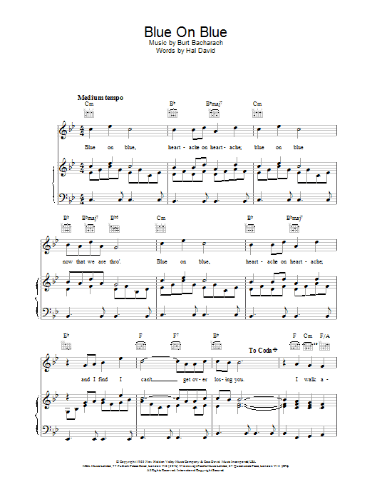 Bacharach & David Blue On Blue sheet music notes and chords. Download Printable PDF.