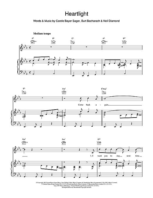 Burt Bacharach Heartlight sheet music notes and chords
