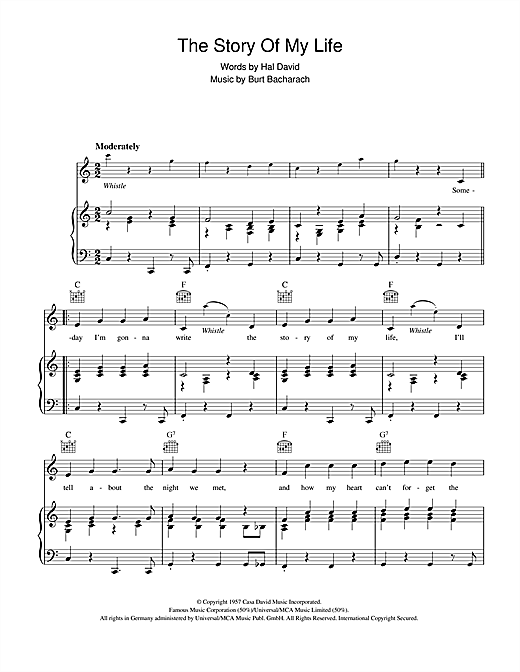 Burt Bacharach The Story Of My Life sheet music notes and chords. Download Printable PDF.