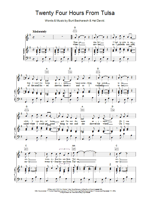 Bacharach & David Twenty Four Hours From Tulsa sheet music notes and chords. Download Printable PDF.
