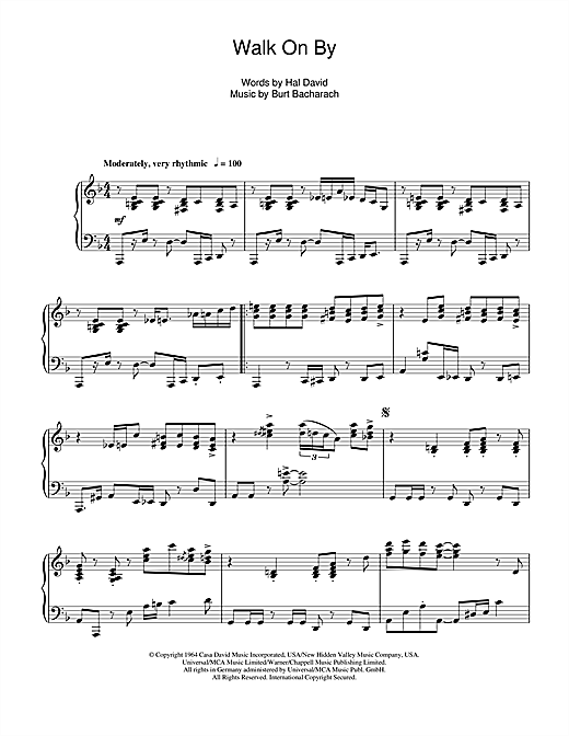 Burt Bacharach Walk On By sheet music notes and chords