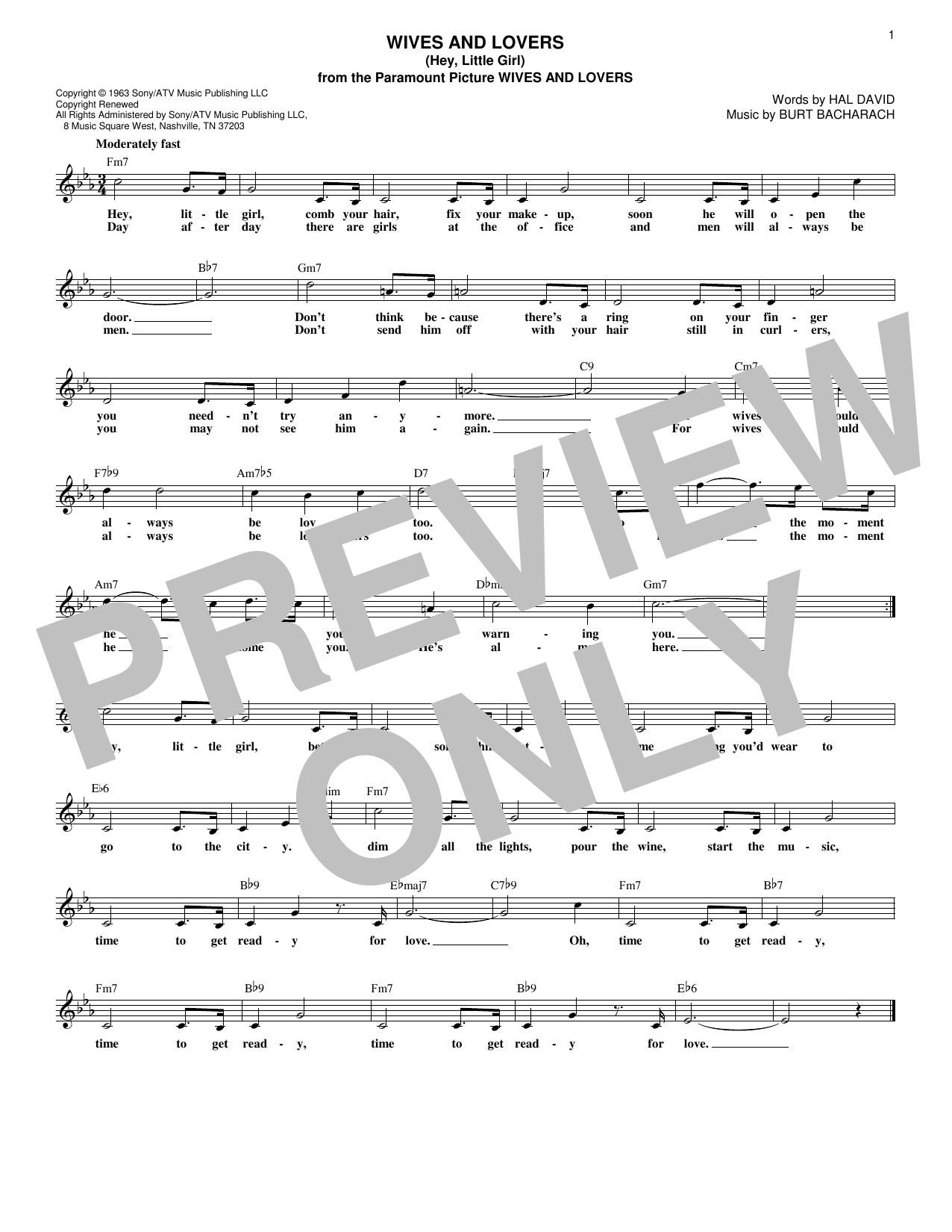 Burt Bacharach Wives And Lovers (Hey, Little Girl) sheet music notes and chords. Download Printable PDF.