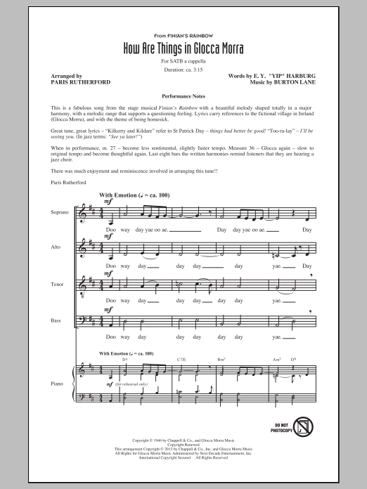 Burton Lane How Are Things In Glocca Morra (arr. Paris Rutherford) sheet music notes and chords. Download Printable PDF.