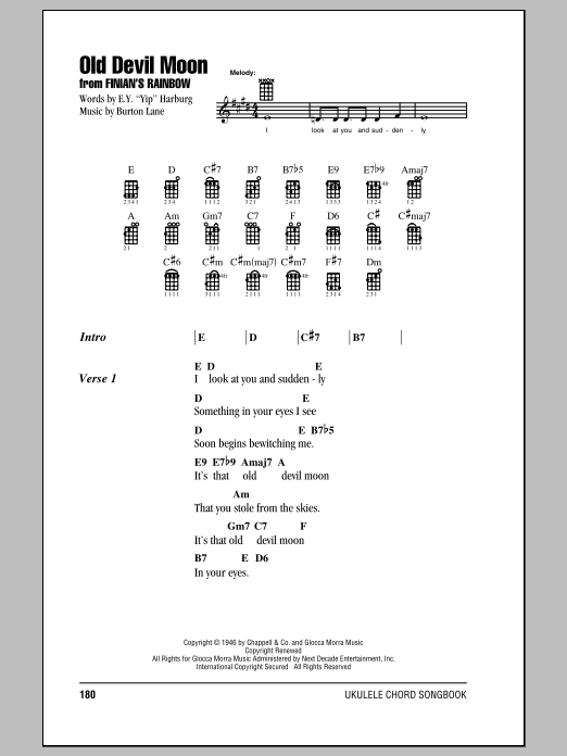 Burton Lane Old Devil Moon sheet music notes and chords. Download Printable PDF.