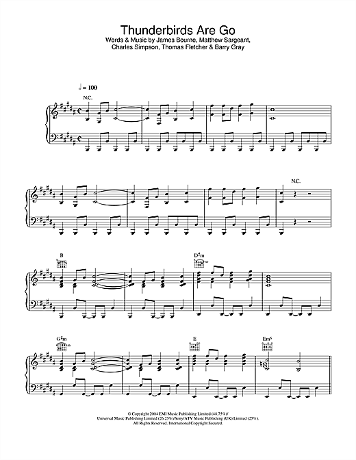 Busted Thunderbirds Are Go sheet music notes and chords. Download Printable PDF.