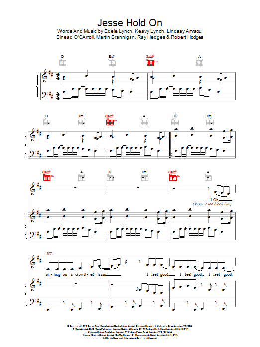 B*Witched Jesse Hold On sheet music notes and chords. Download Printable PDF.
