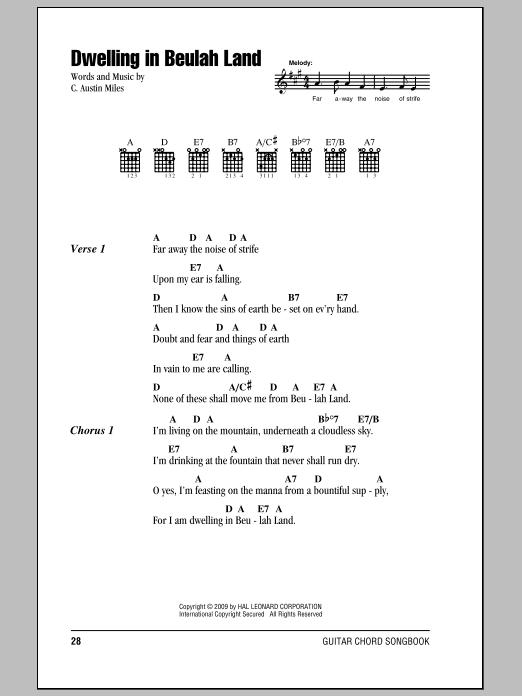 C. Austin Miles Dwelling In Beulah Land sheet music notes and chords. Download Printable PDF.