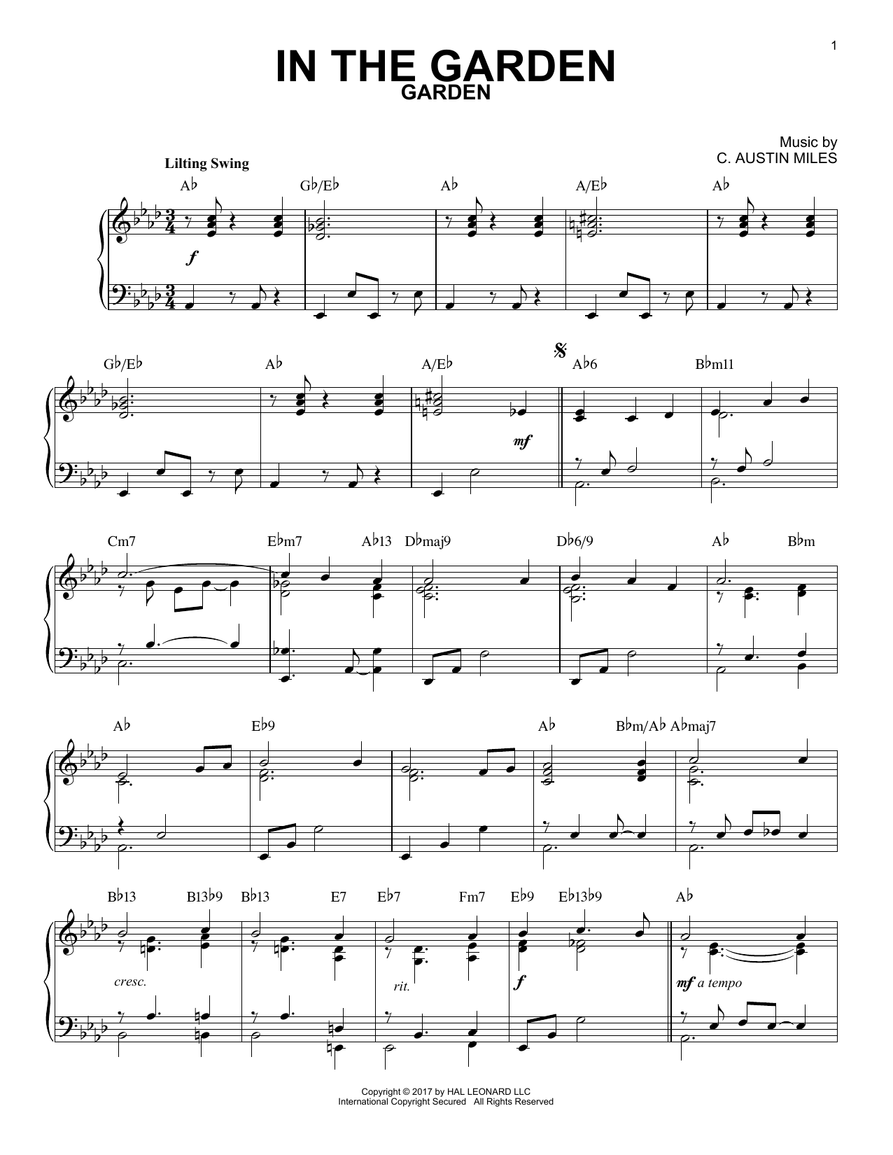 C. Austin Miles In The Garden [Jazz version] sheet music notes and chords. Download Printable PDF.