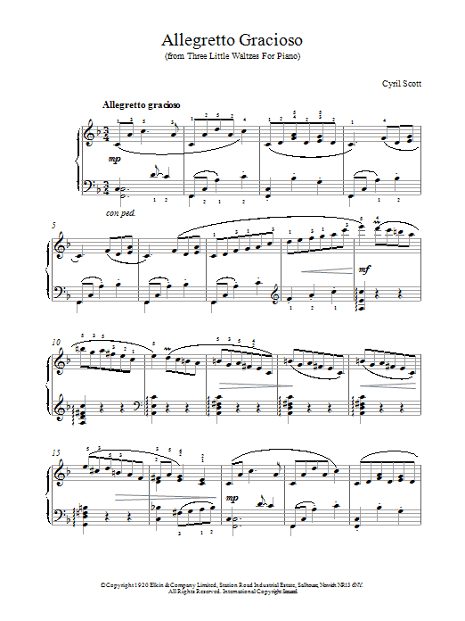 Cyril Scott Allegretto Gracioso sheet music notes and chords. Download Printable PDF.