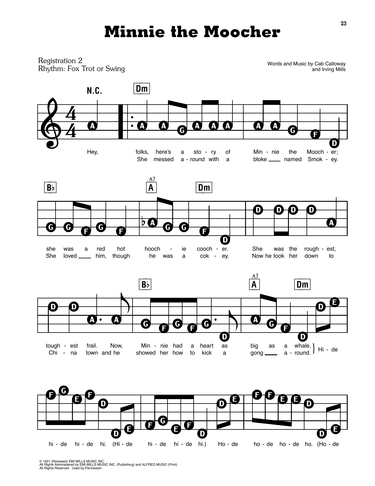 Cab Calloway and His Orchestra Minnie The Moocher sheet music notes and chords. Download Printable PDF.