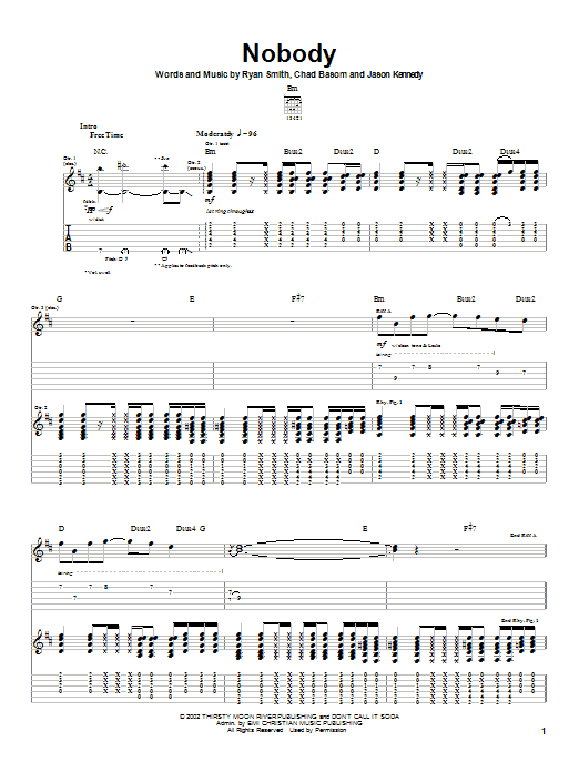 Cadet Nobody sheet music notes and chords. Download Printable PDF.