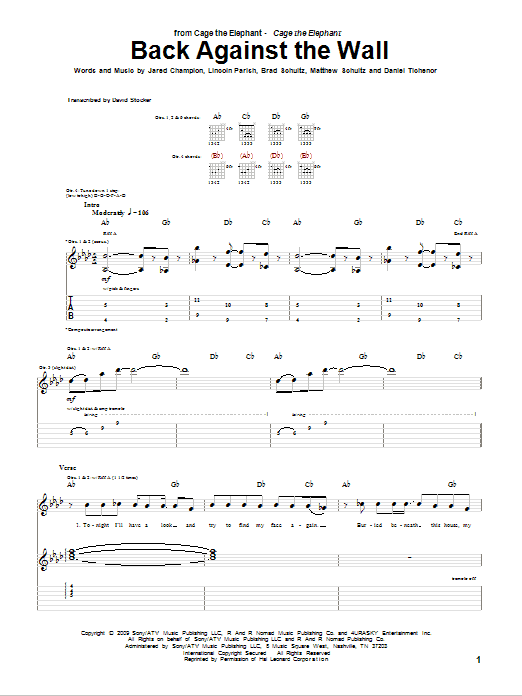 Cage the Elephant Back Against The Wall sheet music notes and chords. Download Printable PDF.