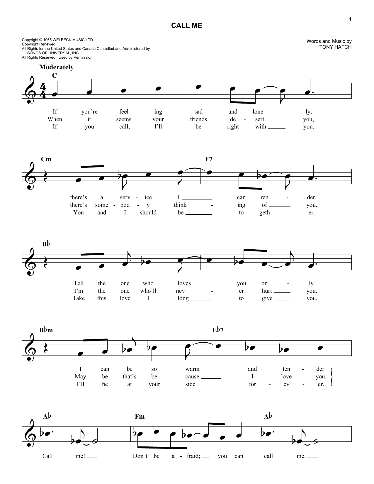 California Chris Montez Call Me sheet music notes and chords. Download Printable PDF.