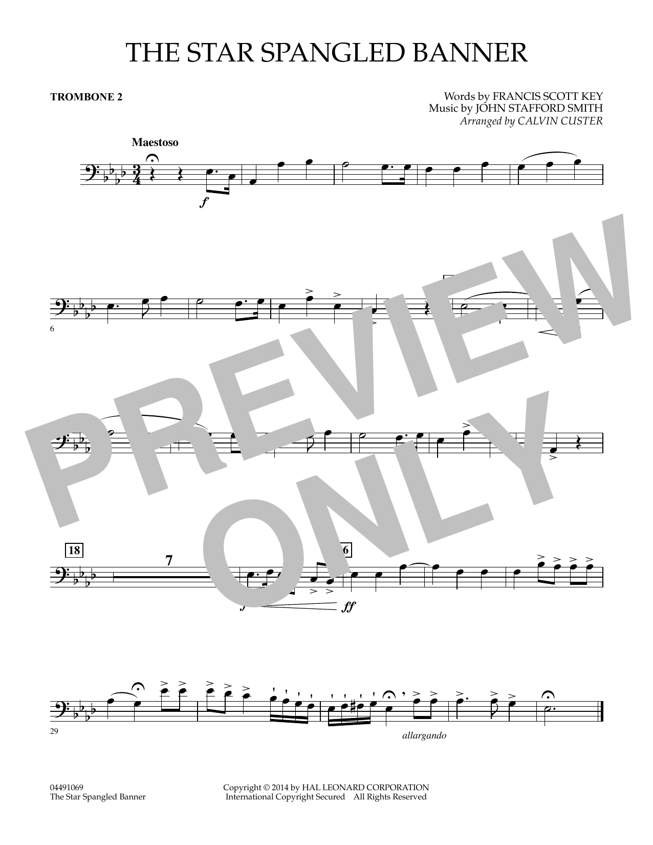 Calvin Custer The Star Spangled Banner Trombone 2 Sheet Music Pdf Notes Chords Patriotic Score Full Orchestra Download Printable Sku 344256