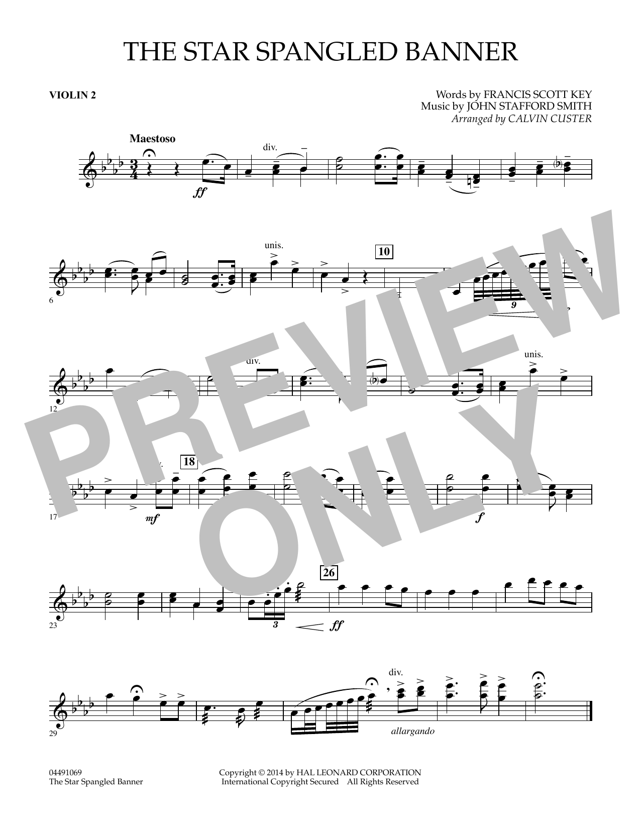 Calvin Custer The Star Spangled Banner Violin 2 Sheet Music Pdf Notes Chords Patriotic Score Full Orchestra Download Printable Sku 344267