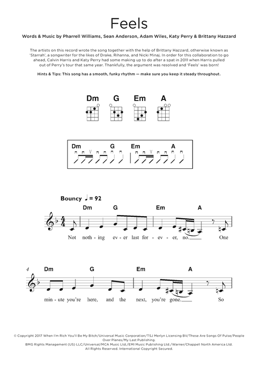 Calvin Harris Feels (feat. Pharrell Williams, Katy Perry & Big Sean) sheet music notes and chords