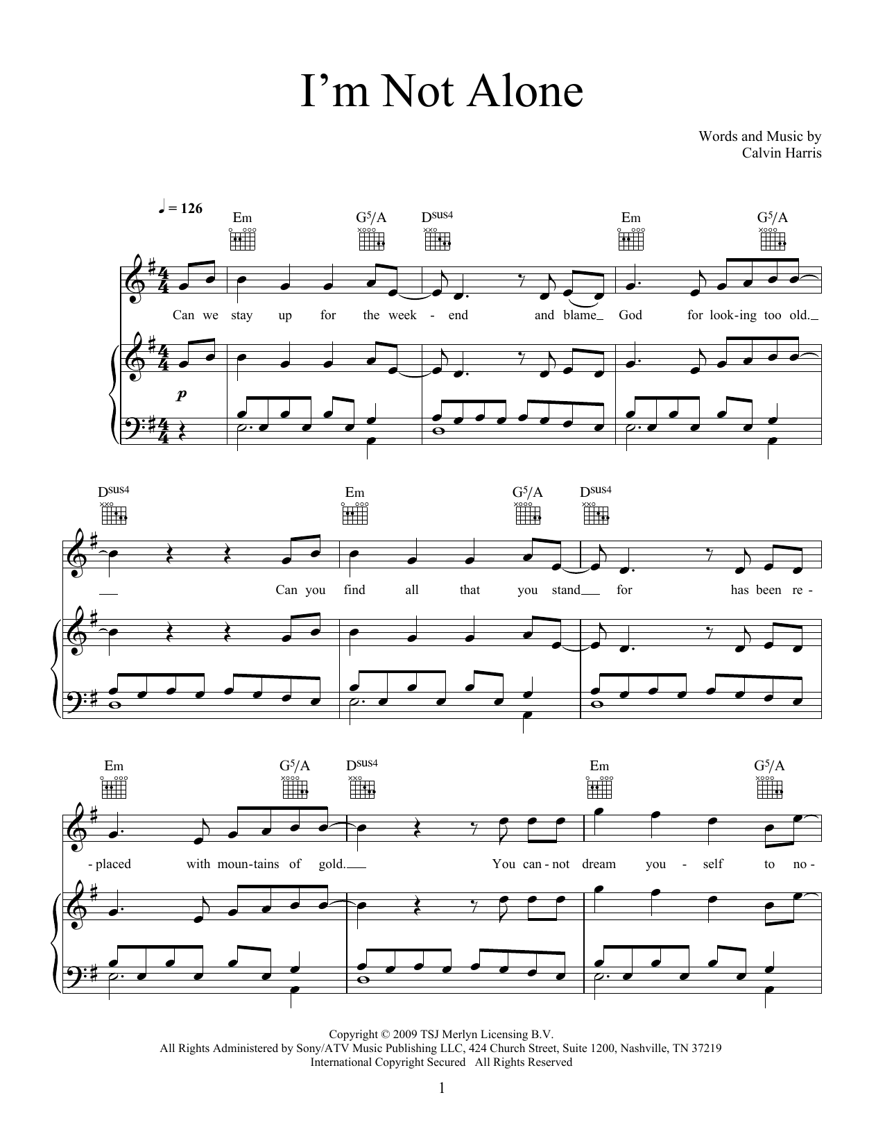 Calvin Harris I'm Not Alone sheet music notes and chords. Download Printable PDF.