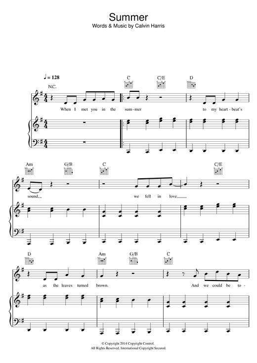 Calvin Harris Summer sheet music notes and chords