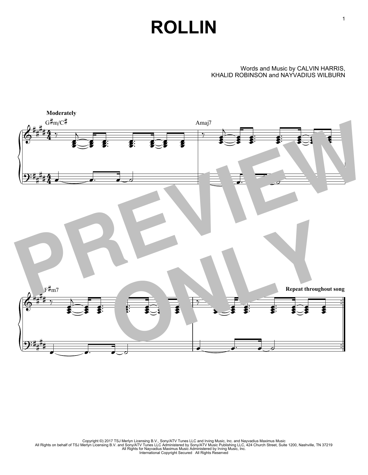 Calvin Harris Rollin (feat. Future and Khalid) sheet music notes and chords. Download Printable PDF.
