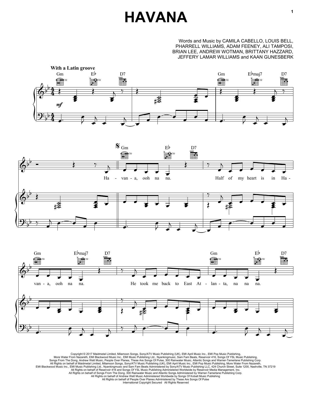 Camila Cabello Havana (feat. Young Thug) sheet music notes and chords. Download Printable PDF.