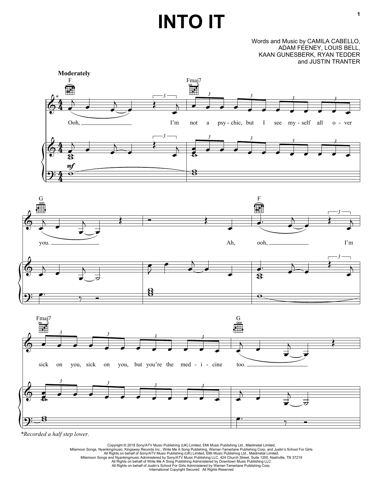 Camila Cabello Into It sheet music notes and chords