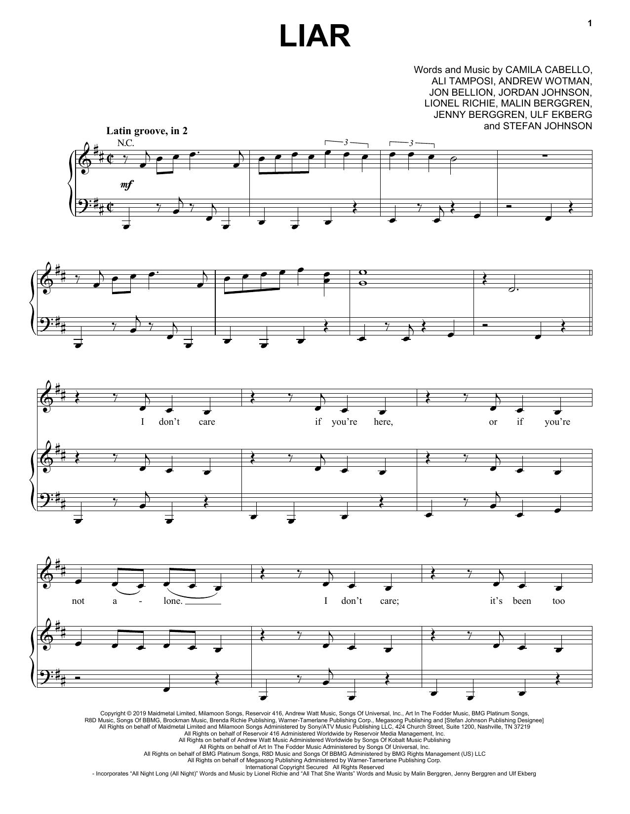 Camila Cabello Liar sheet music notes and chords