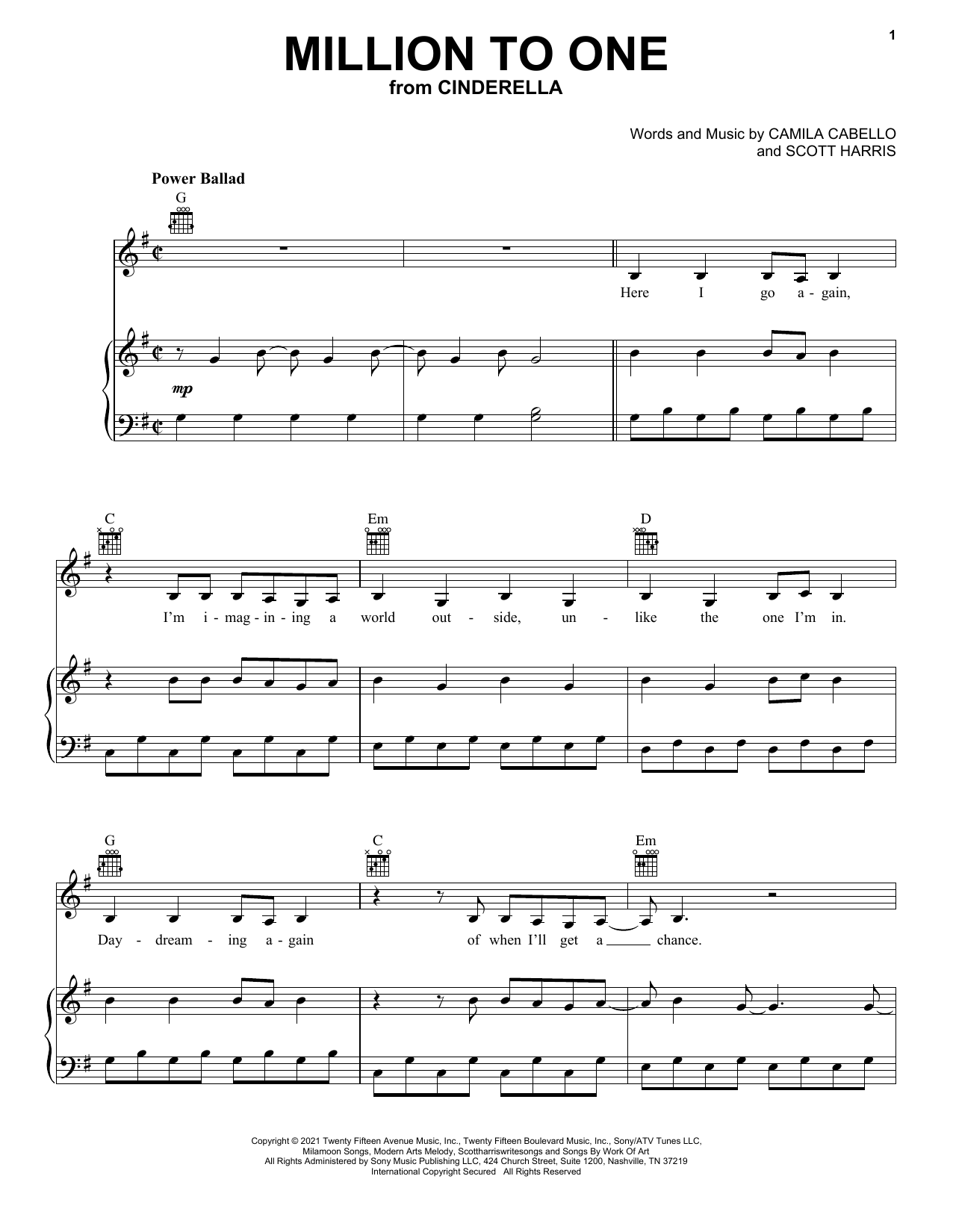 Camila Cabello Million To One (from the Amazon Original Movie Cinderella) sheet music notes and chords. Download Printable PDF.