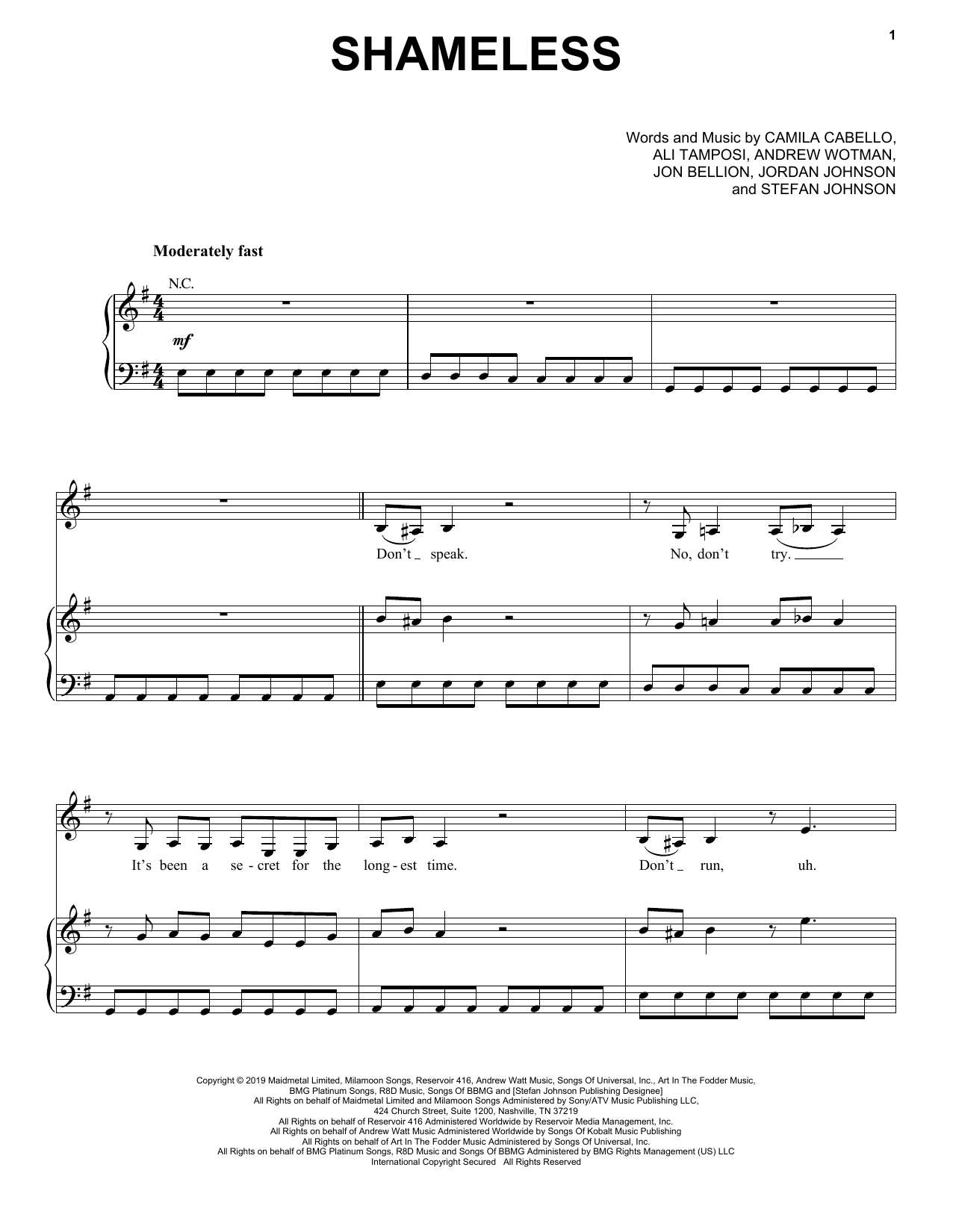 Camila Cabello Shameless sheet music notes and chords