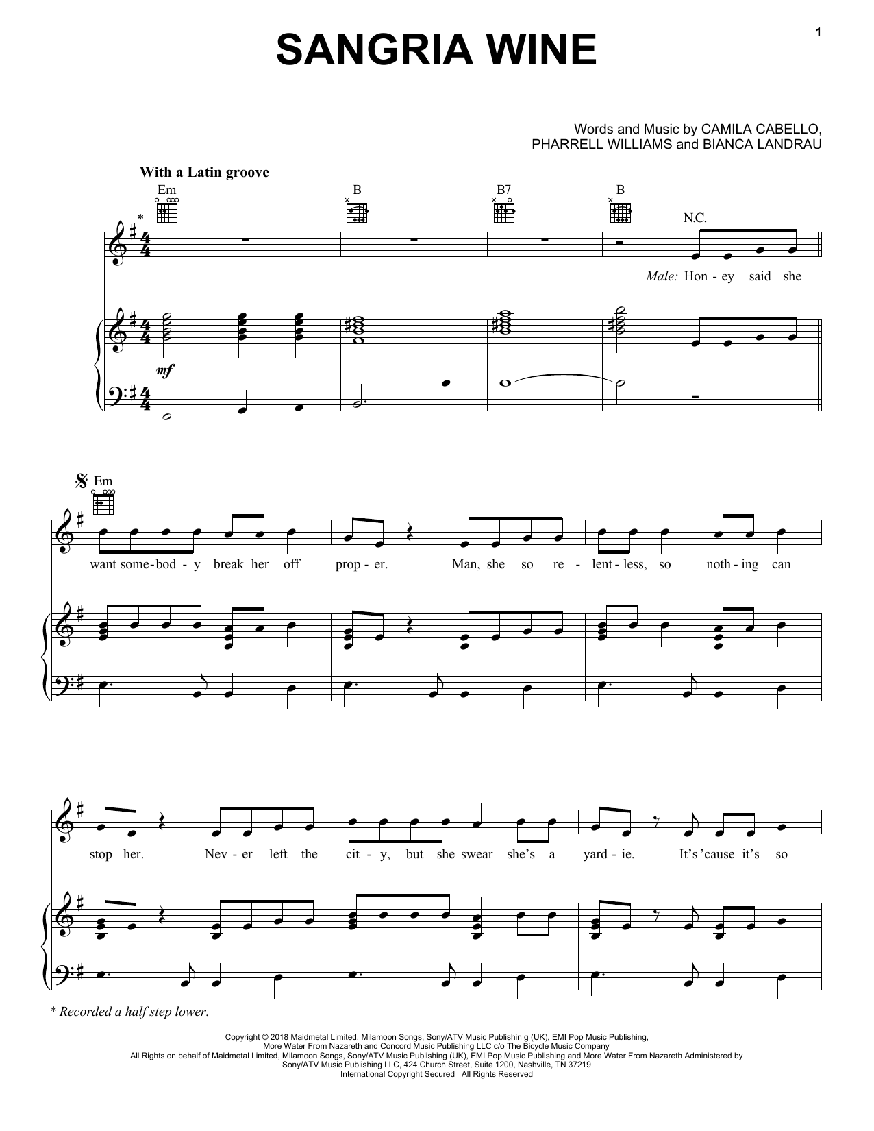 Camila Cabello and Pharrell Williams Sangria Wine sheet music notes and chords