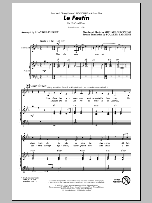 Camille Le Festin (from Ratatouille) (arr. Alan Billingsley) sheet music notes and chords. Download Printable PDF.