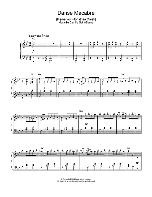 Camille Saint-Saens Danse Macabre (theme from Jonathan Creek) sheet music notes and chords. Download Printable PDF.