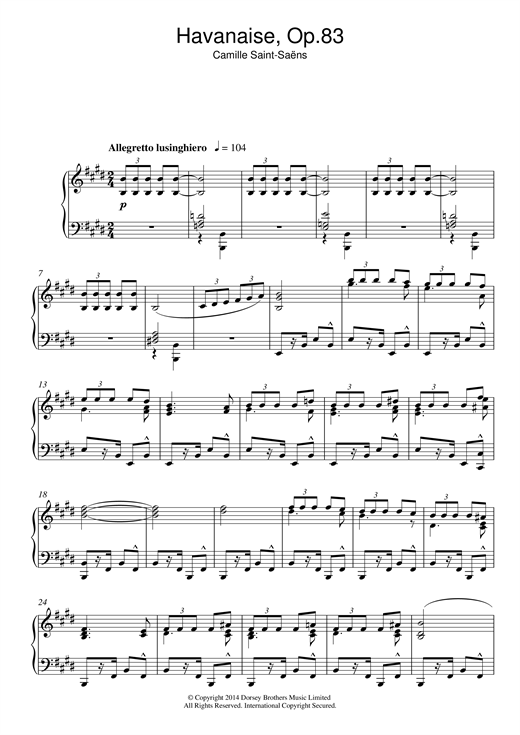 Camille Saint-Saens Havanaise Op. 83 sheet music notes and chords