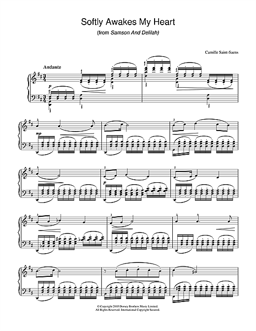 Camille Saint-Saens Softly Awakes My Heart (from Samson And Delilah) sheet music notes and chords. Download Printable PDF.
