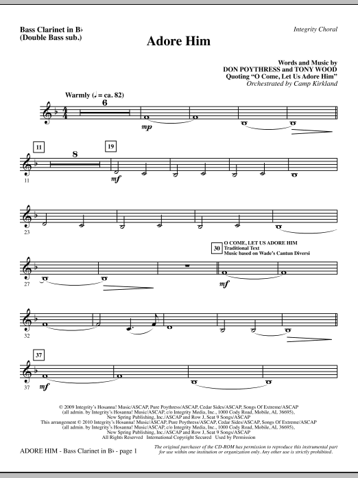 Camp Kirkland Adore Him - Bass Clar. (Double Bass sub.) sheet music notes and chords. Download Printable PDF.