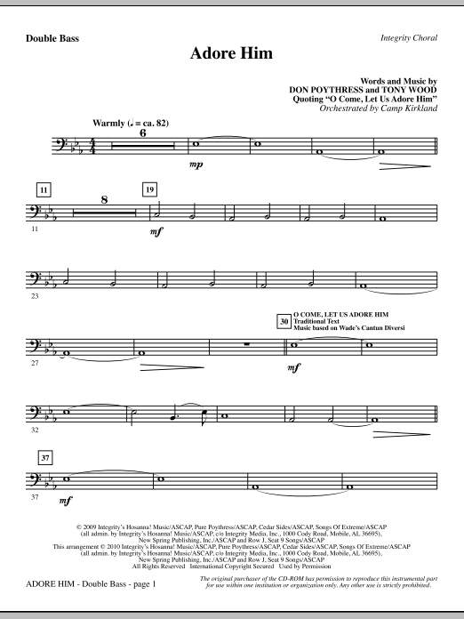 Camp Kirkland Adore Him - Double Bass sheet music notes and chords. Download Printable PDF.