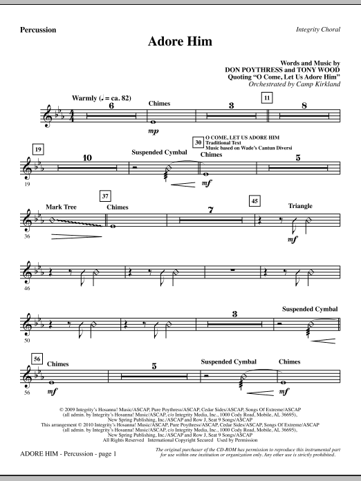 Camp Kirkland Adore Him - Percussion sheet music notes and chords. Download Printable PDF.