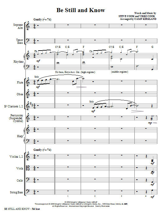 Camp Kirkland Be Still And Know - Full Score sheet music notes and chords. Download Printable PDF.