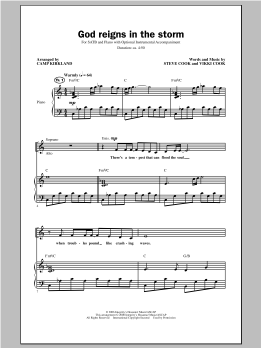 Camp Kirkland God Reigns In The Storm sheet music notes and chords. Download Printable PDF.